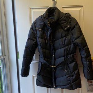 Cole Haan Black Puffer Belted Winter Coat